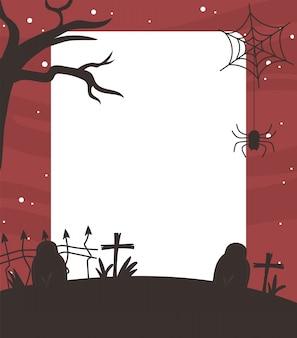 Happy halloween, trockener baum grabsteine spinne kreuz hintergrund trick oder behandeln party vektor-illustration
