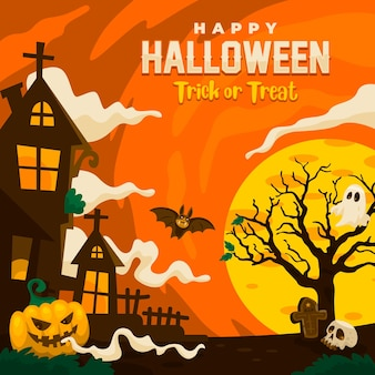 Happy halloween vector für backgroud, wallpaper, social media post, postkarte