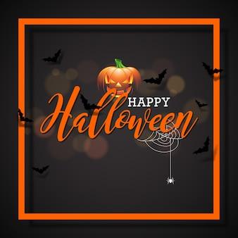 Happy halloween vektor-illustration mit kürbis auf schwarzem hintergrund. feiertagsentwurf mit spinnen und fledermäusen für grußkarte, fahne, plakat, parteieinladung.