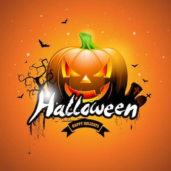 Happy halloween-vektor-illustration mit kürbis und friedhof auf orangefarbenen hintergrund. feiertagsentwurf mit spinnen und fledermäusen für grußkarte, fahne, plakat, parteieinladung.