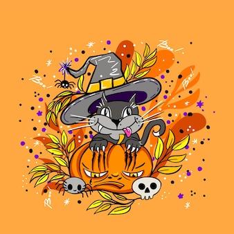 Happy halloween-vektor-schriftzug und fröhliche illustration. festliches banner mit kalligraphie. partyeinladungen. vektor-illustration.