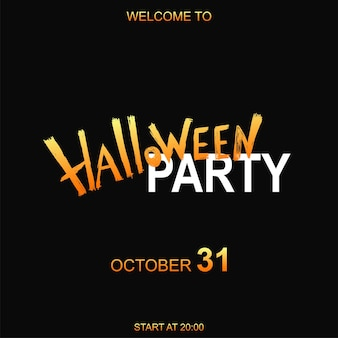 Happy halloween-vektor-schriftzug und fröhliche illustration. festliches banner mit kalligraphie, poster oder postkarte. partyeinladungen. handzeichnung