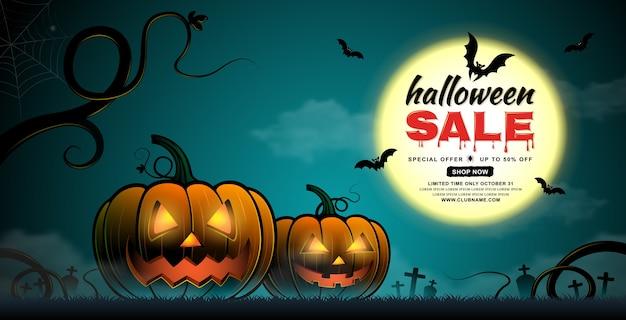 Happy halloween verkauf banner vorlage kürbisse und fledermäuse