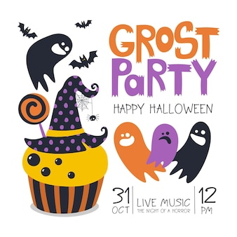 Happy halloween-vorlage mit handgeschriebener aufschrift grost party