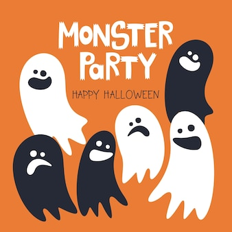 Happy halloween-vorlage mit handgeschriebener aufschrift monster party