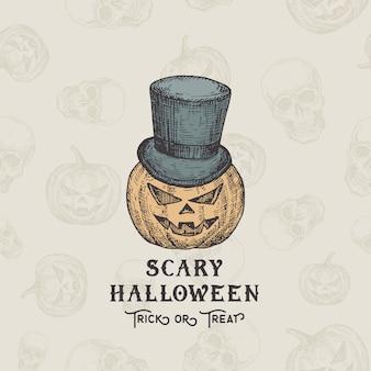 Happy halloweentrick oder treat hintergrund oder kartenvorlage. hand gezeichneter kürbiskopf in einer zylinderhut-skizzenillustrationen. dekorative feiertagszusammensetzung mit nahtlosem kürbis-muster.