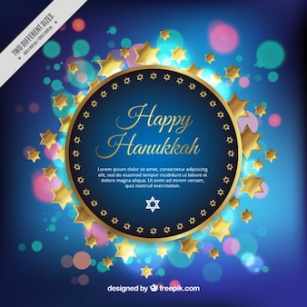 Happy hanukkah hintergrund mit goldenen sternen