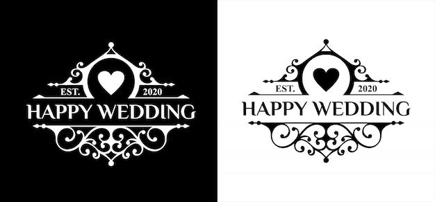 Happy hochzeit logo vorlage premium
