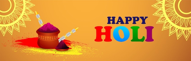 Happy holi banner oder header