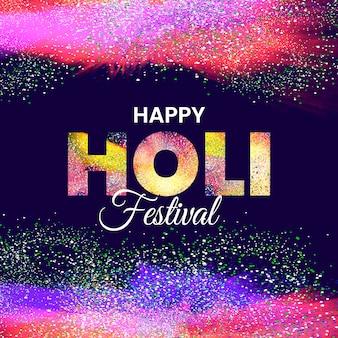Happy holi festival explosion von farben realistisch