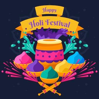 Happy holi festival mit farbigem puder