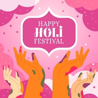 Happy holi festival mit händen voller farbe