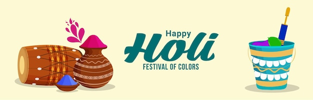 Happy holi flat banner oder header