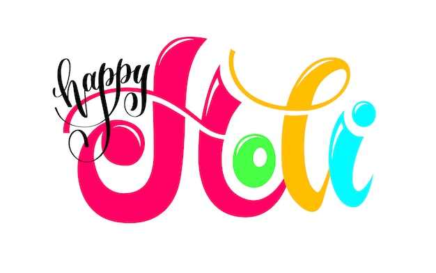 Happy holi hand schriftzug inschrift