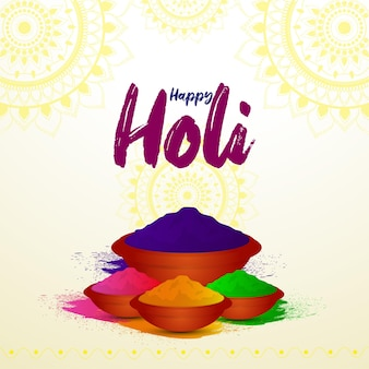 Happy holi kreative farbschale