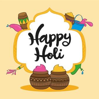 Happy holi nachricht mit schriftzug thema