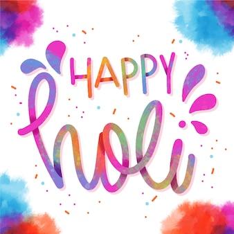 Happy holi schriftzug mit konfetti und aquarell rahmen