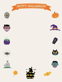 Happy holiday halloween hintergrund mit niedlichen monsterelementen