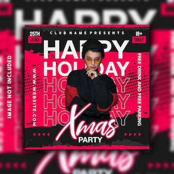 Happy holiday party social media post instagram banner template design