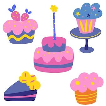 Happy holiday sahnetorte vektor-set. leckerer geburtstagskuchen. süßes gebäck, muffin, cupcake feiertagskochikonen zum dekorieren, jubiläen, hochzeiten, geburtstage, kinderpartys.