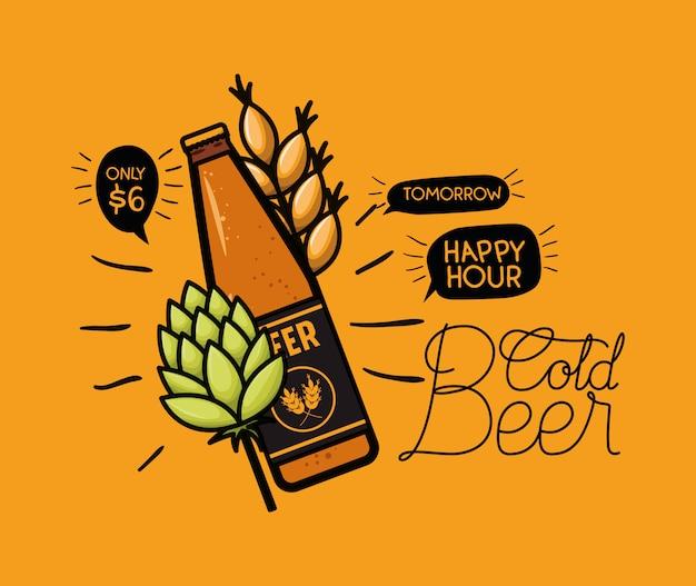 Happy hour bier etikett mit flasche und blätter