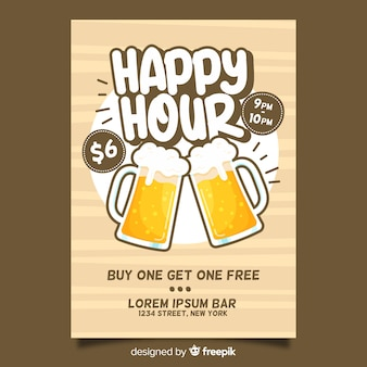 Happy hour biere poster mit flachen design