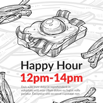 Happy hour im café oder bistro sandwich-rabatt
