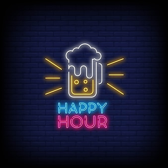Happy hour leuchtreklame textstil