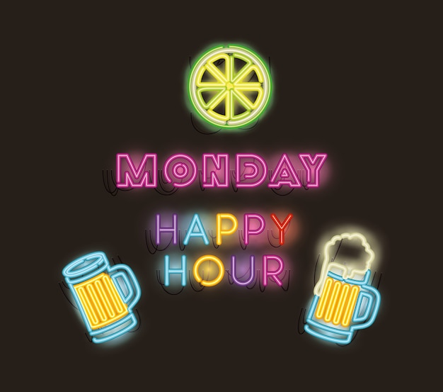 Happy hour mit bar icons set neonlichter