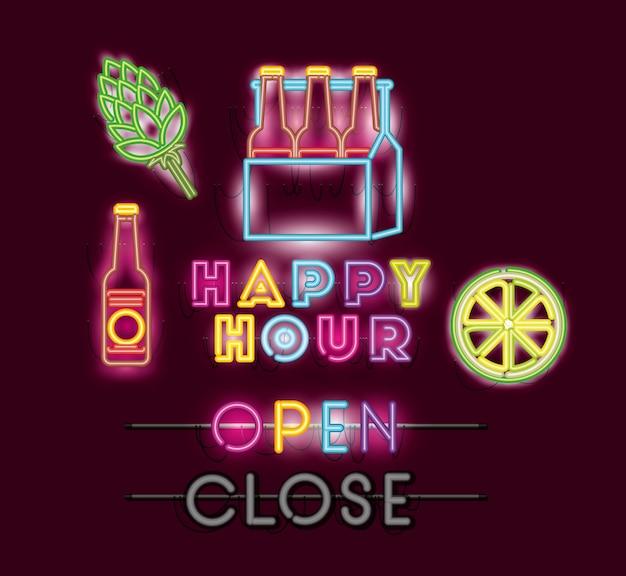 Happy hour mit bierflaschen in neonlichtern im korbguss