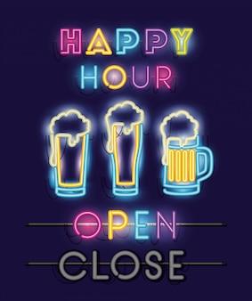 Happy hour mit biergläsern schriftarten neonröhren
