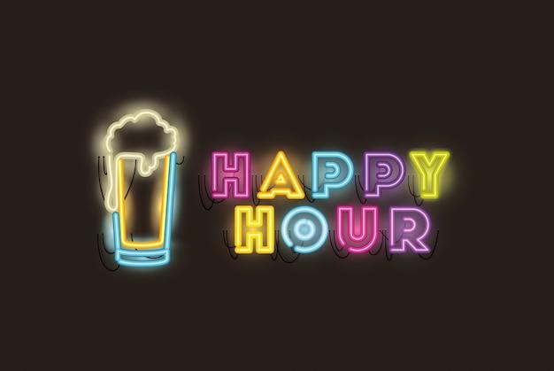 Happy hour mit neonlichtern aus bierglas