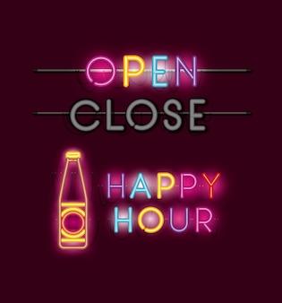 Happy hour mit neonlichtern der bierflaschenschrift