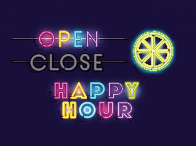 Happy hour mit neonlichtern mit halben zitronen-schriftarten