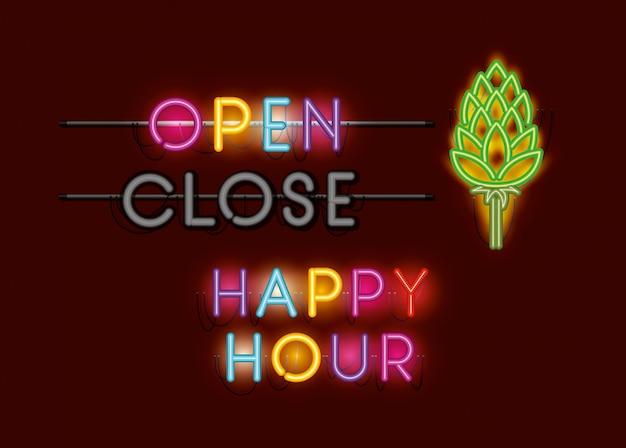Happy hour mit neonlichtern mit spike-schriftarten