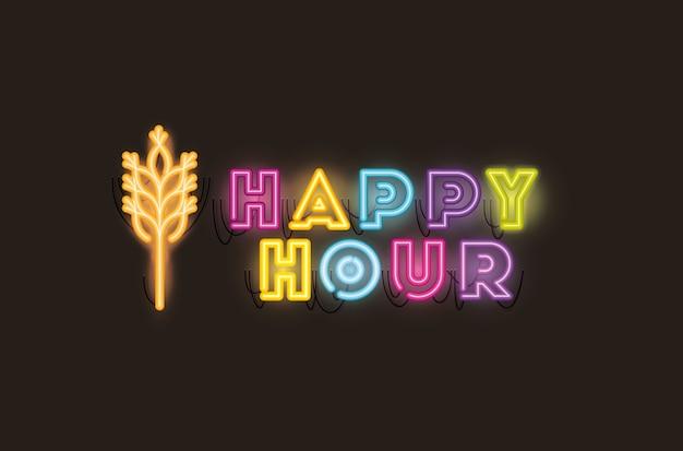 Happy hour mit neonlichtern mit spitzen-schriftarten