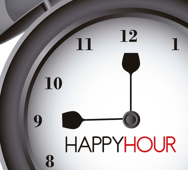 Happy hour mit uhr alarm nahaufnahme vektor-illustration