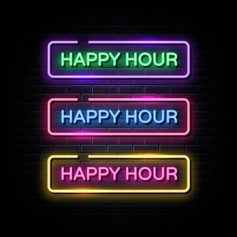 Happy hour neonschilder style text