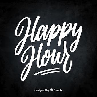 Happy hour schriftzug auf tafel