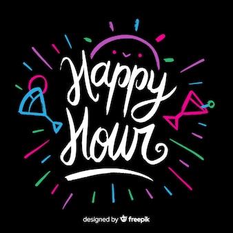 Happy hour schriftzug mit farbigen cocktails