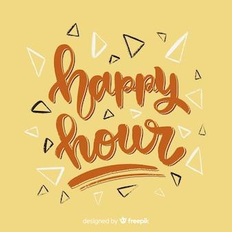 Happy hour schriftzug mit gelbem hintergrund