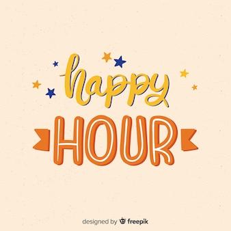 Happy hour schriftzug mit kleinen sternen