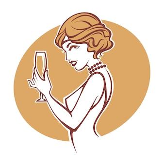 Happy hours, porträt von altmodischem retro-gerl mit einem glas champagner