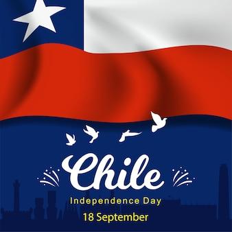 Happy independence day, chile wahrzeichen silhouette. vektor
