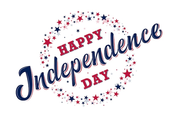 Happy independence day schild mit roten und blauen sternen