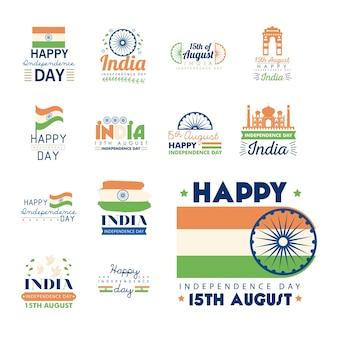 Happy indien unabhängigkeitstag banner icon bundle