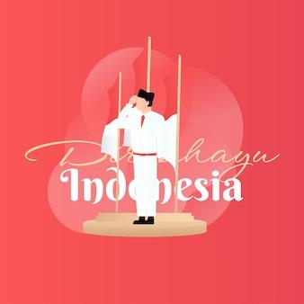 Happy indonesien unabhängigkeitstag 17. august feier hintergrund und grußkarte