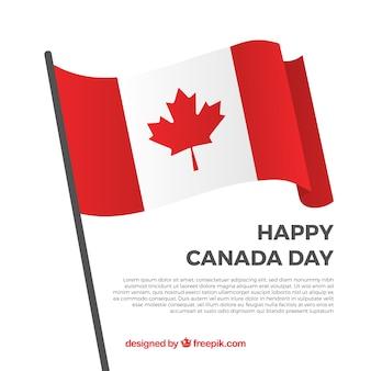 Happy kanada tag hintergrund mit dekorativen flagge