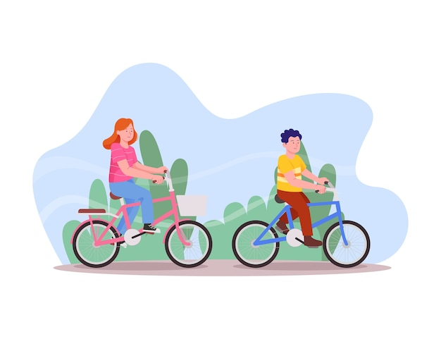 Happy kids riding bike together cartoon