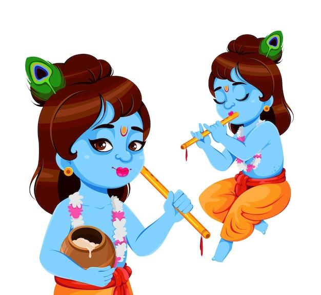 Happy krishna janmashtami satz von zwei posen lord krishna mit flöte